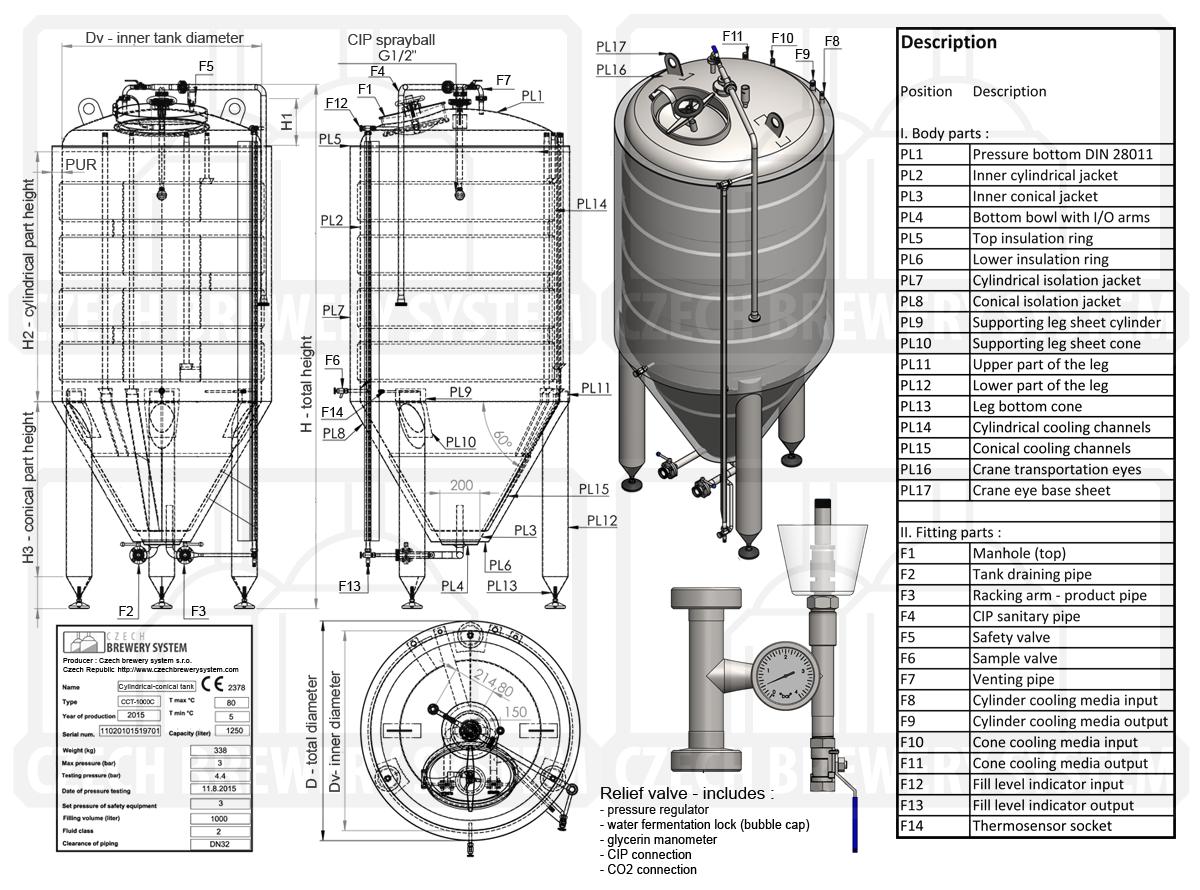 Описание CCT 1000C 2015 - Прейскурант: Цилиндрически-конические ферментационные чаны - CCT / CFT
