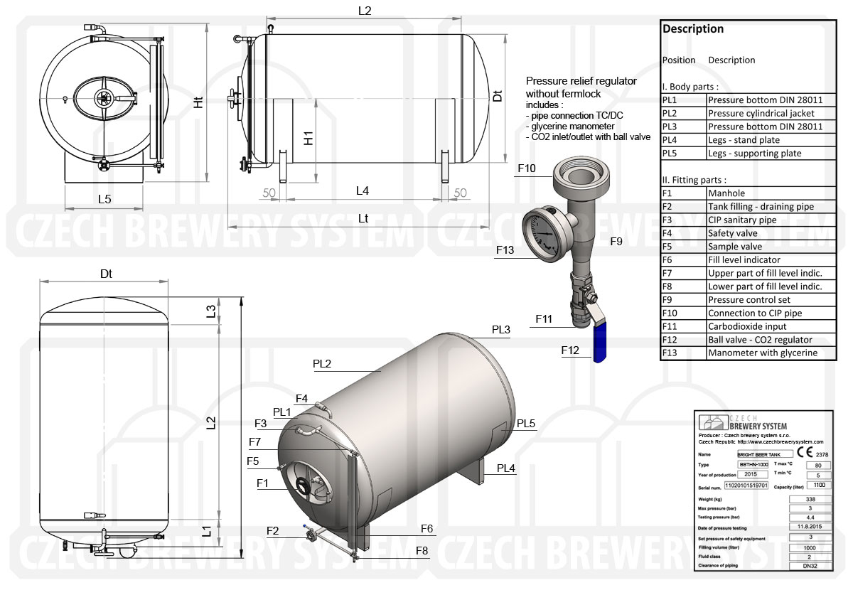 BBTHN 1200 2015 описание ru - BBTHN | Сервировочные баки | Яркие пивные танки | горизонтальный, неизолированный, воздушный
