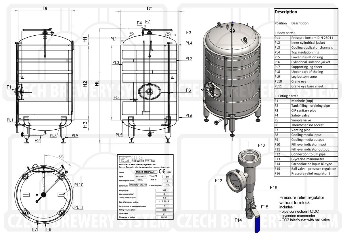 BBTVI 2000 2015 описание - BBTVI | Сервировочные баки | Яркие пивные танки | вертикальный, изолированный, гликоль