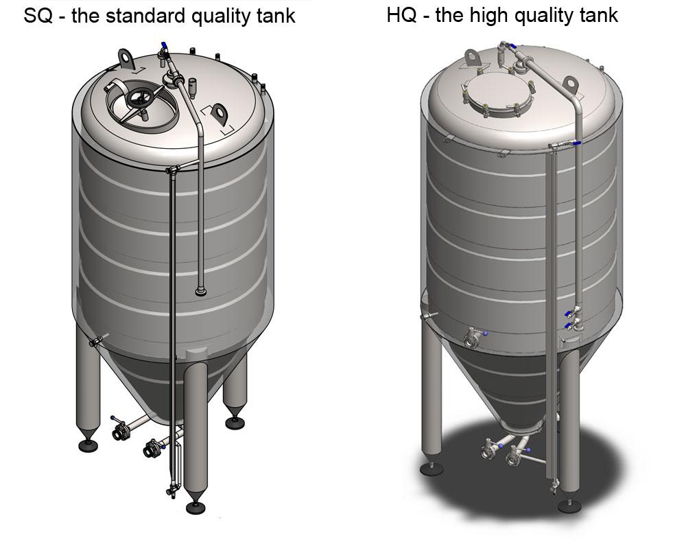 CCT 2000 SQ HQ Сравнение 01 - CCT | Цилиндрически-конические емкости для брожения пива CLASSIC: технические параметры