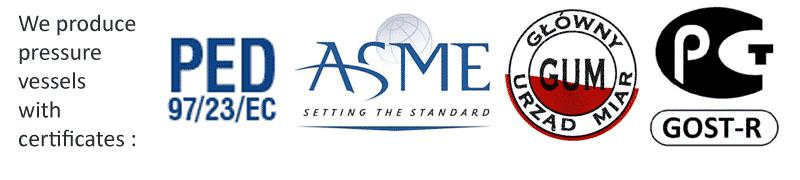 Сертификаты PED-ASME-ГУМ-ГОСТ
