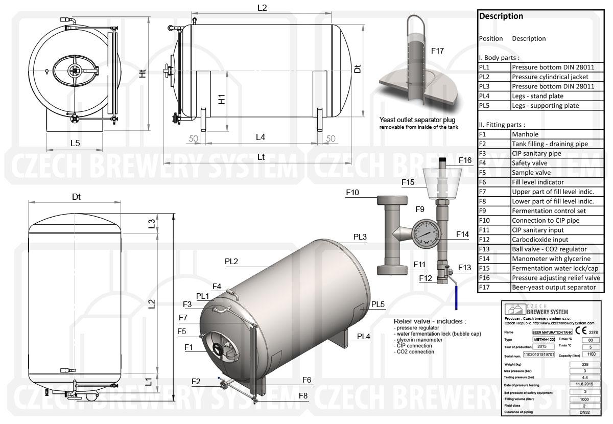 MBTHN 1200 2015 описание ru - MBTHN | Резервуары для созревания: горизонтальные, неизолированные, охлаждаемые воздухом