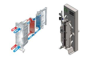 Cooling and aeration of wort - plate heat exchanger and compact wort cooler and aerator