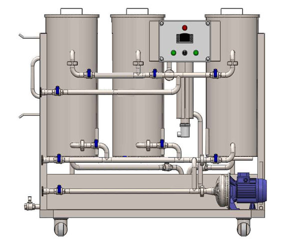 CIP-53 mobile cleaning-in-place station with three tanks for sanitizing solutions and one neutralization tank