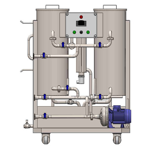 CIP-52 mobile cleaning-in-place station with two tanks for sanitizing solutions and one neutralization tank
