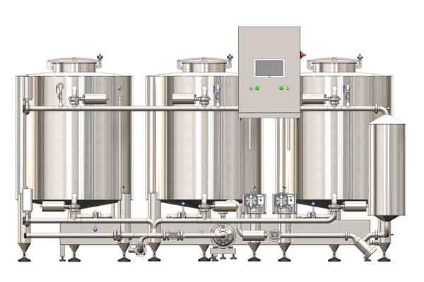 The cleaning and sanitizing system includes devices for perfect cleaning and disinfecting all vessels and piping routes in a brewery.