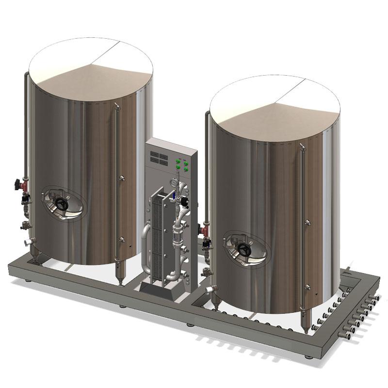 Компактные установки охлаждения сусла с баком холодной воды и баком горячей воды