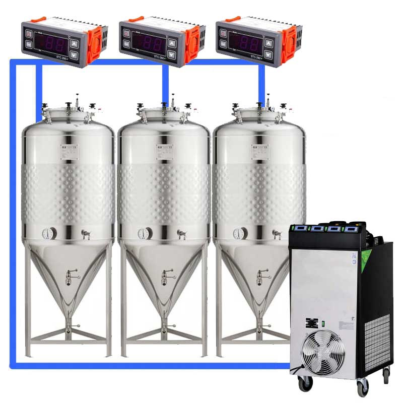 Compact fermentation systems with low-pressure tanks 1.2 bar